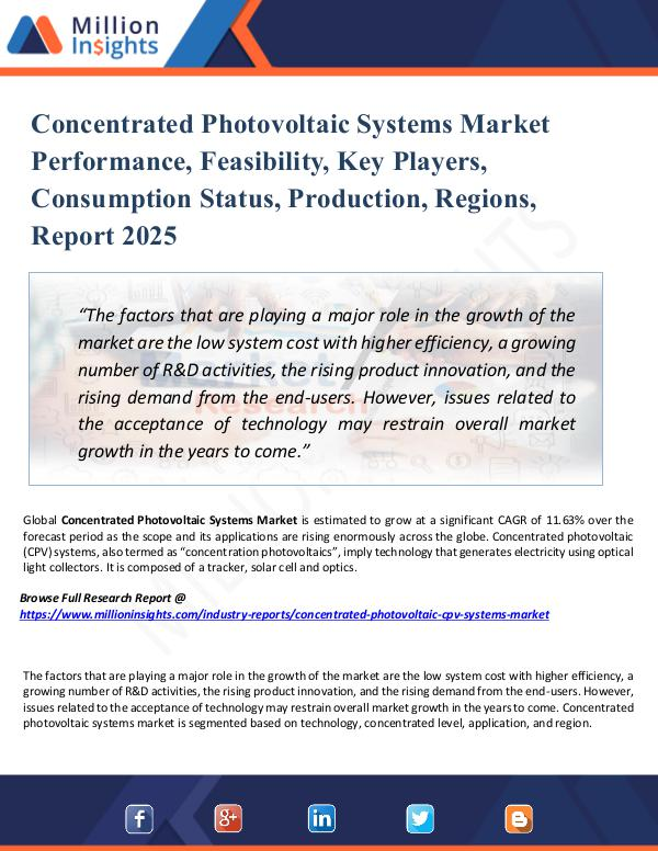 Concentrated Photovoltaic Systems Market Report