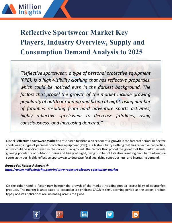 Reflective Sportswear Market Key Players, Industry