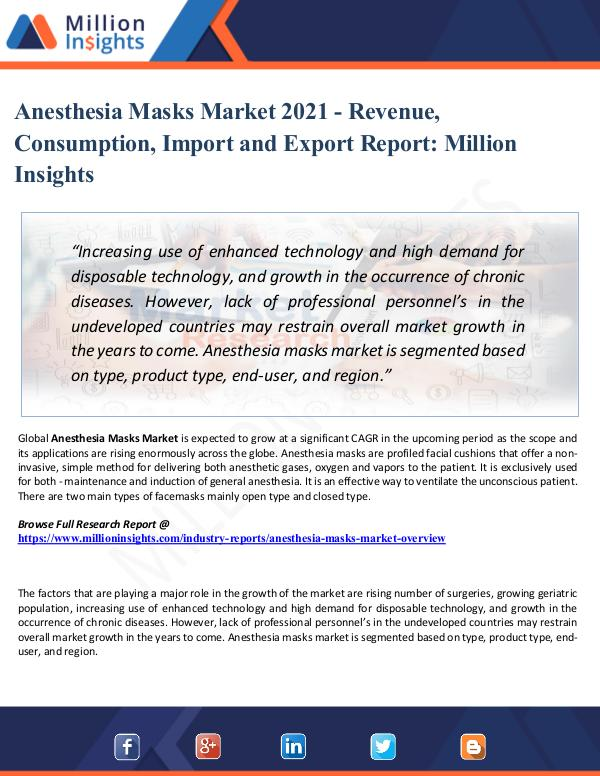 Anesthesia Masks Market Growth, Trends, Share 2021