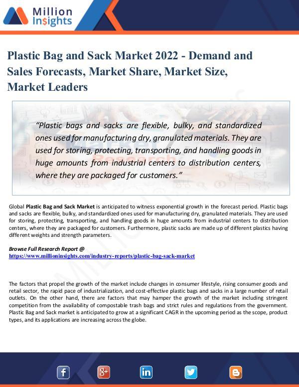 Plastic Bag and Sack Market 2022 - Demand and Sale