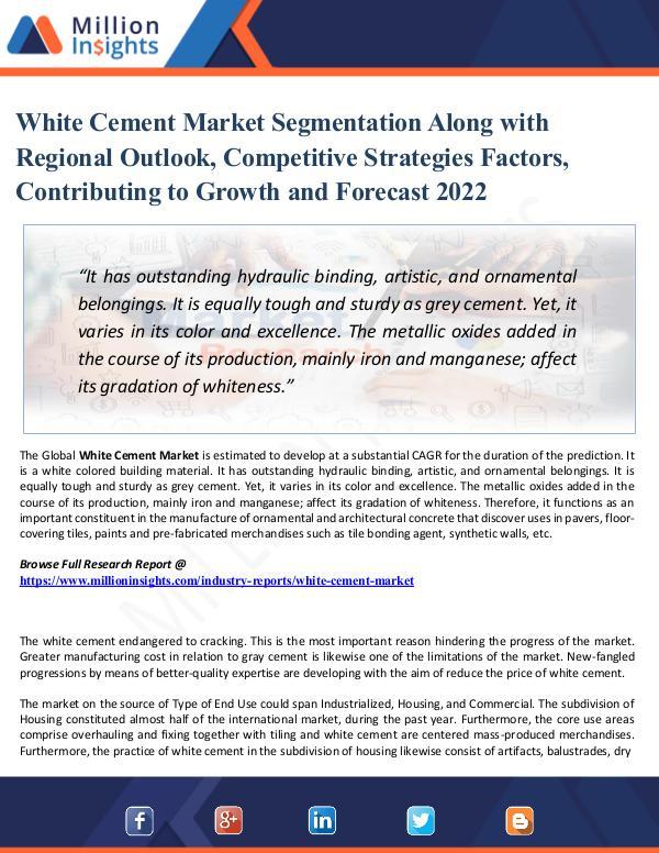 White Cement Market Segmentation Along with Region