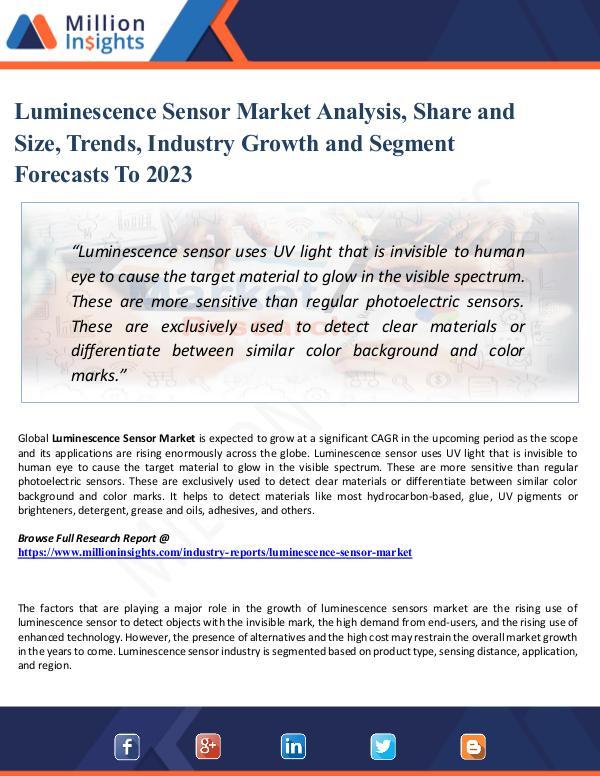 Luminescence Sensor Market Analysis, Share and Siz