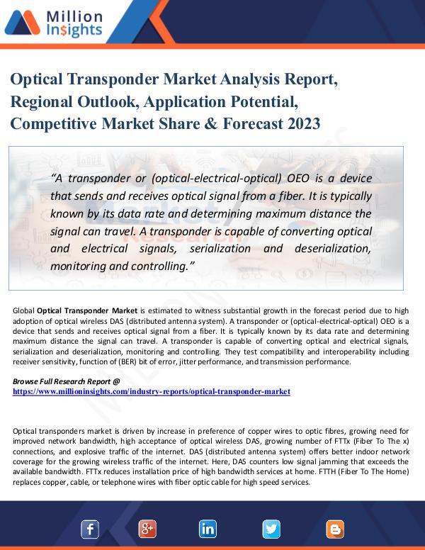 Optical Transponder Market Analysis Report, Region