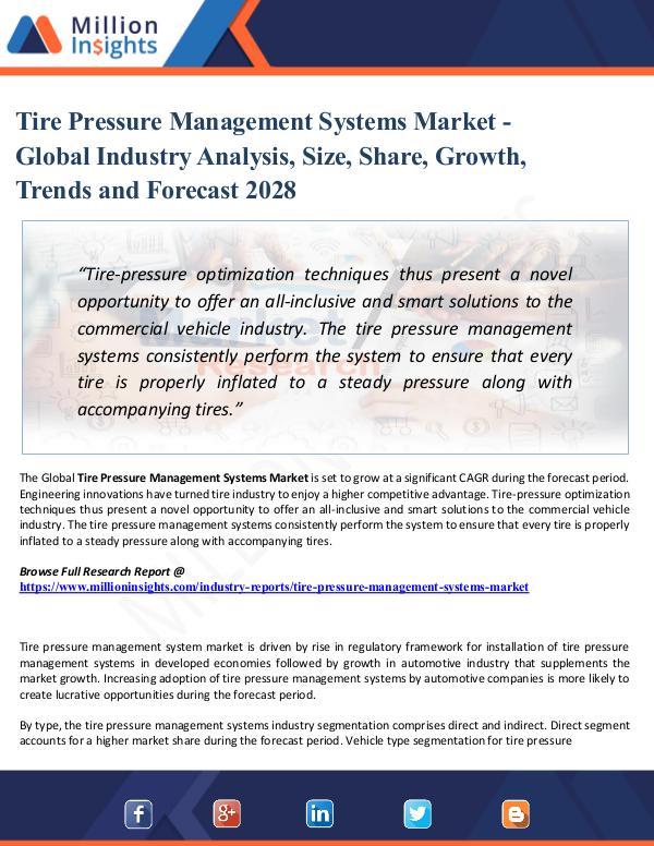 Tire Pressure Management Systems Market - Global I