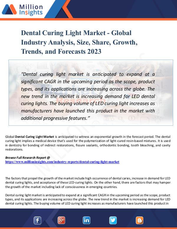 Dental Curing Light Market - Global Industry Analy
