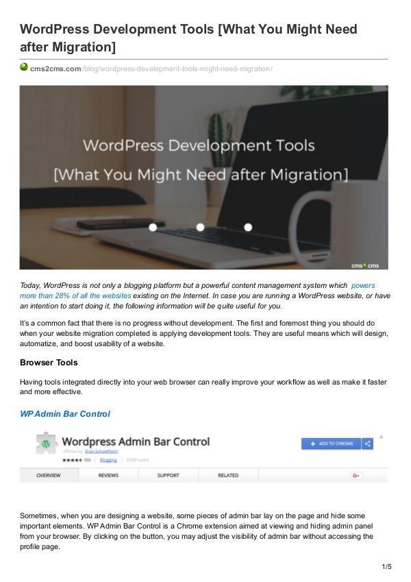 Migration Tips WordPress Development Tools