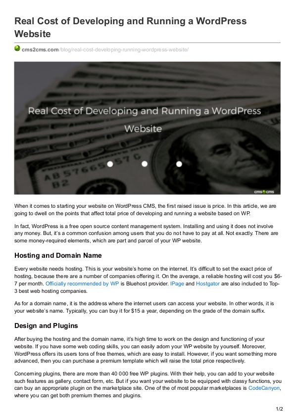 Migration Tips Real Cost of Developing and Running a WordPress We