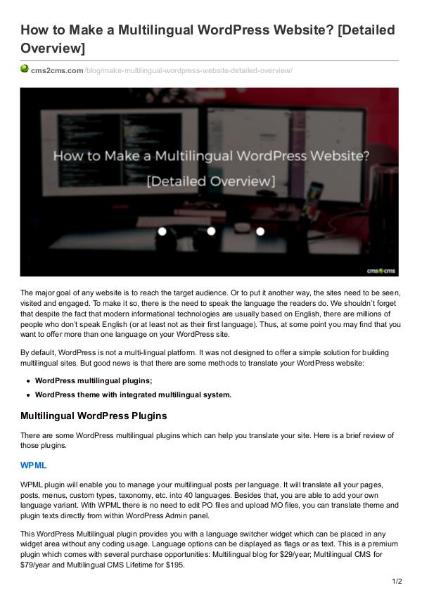 Migration Tips How to Make a Multilingual WordPress Website