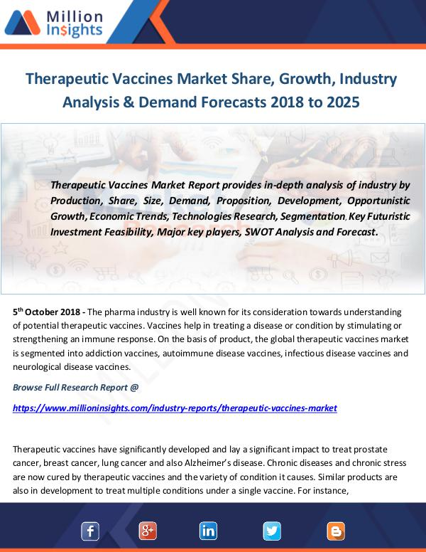 Industry and News Therapeutic Vaccines Market Share, Growth, Industr