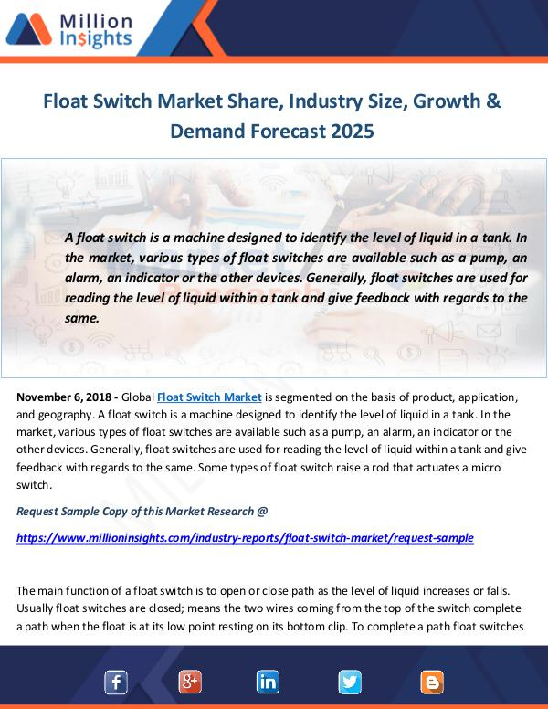 Industry and News Float Switch Market