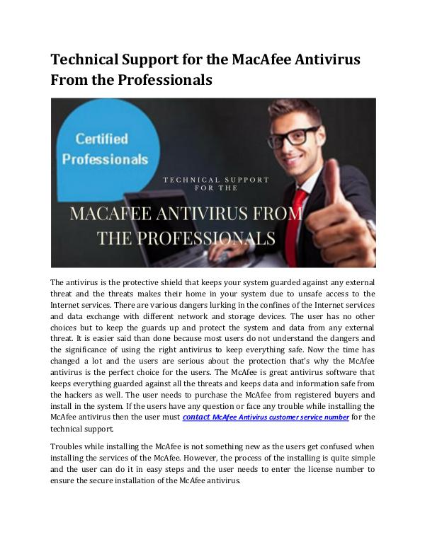 Technical Support for the MacAfee Antivirus From the Professionals Technical Support for the McAfee Antivirus From th