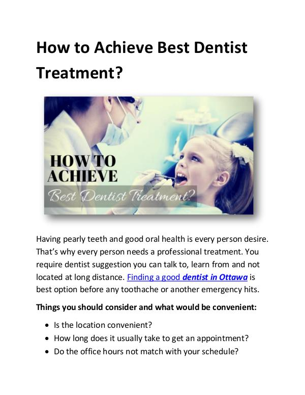 How to Achieve Best Dentist Treatment? How to Achieve a Good Dentist Treatment