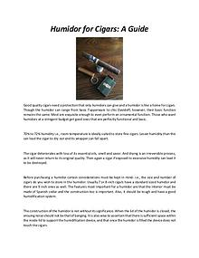 Humidor for Cigars - A Guide