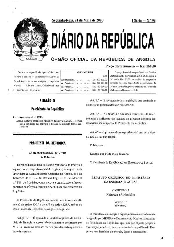 Estatuto Orgânico do Ministério da Energia e Águas Estatuto Organico do Ministerio da Energia e Aguas