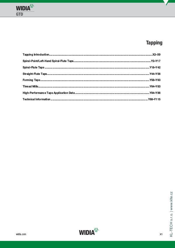 WIDIA - závitování | KL-TECH s.r.o. | www.klte.cz Widia-závitování