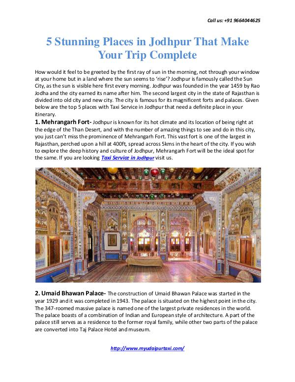 My Udaipur Taxi 5 Stunning Places in Jodhpur That Make Your Trip C