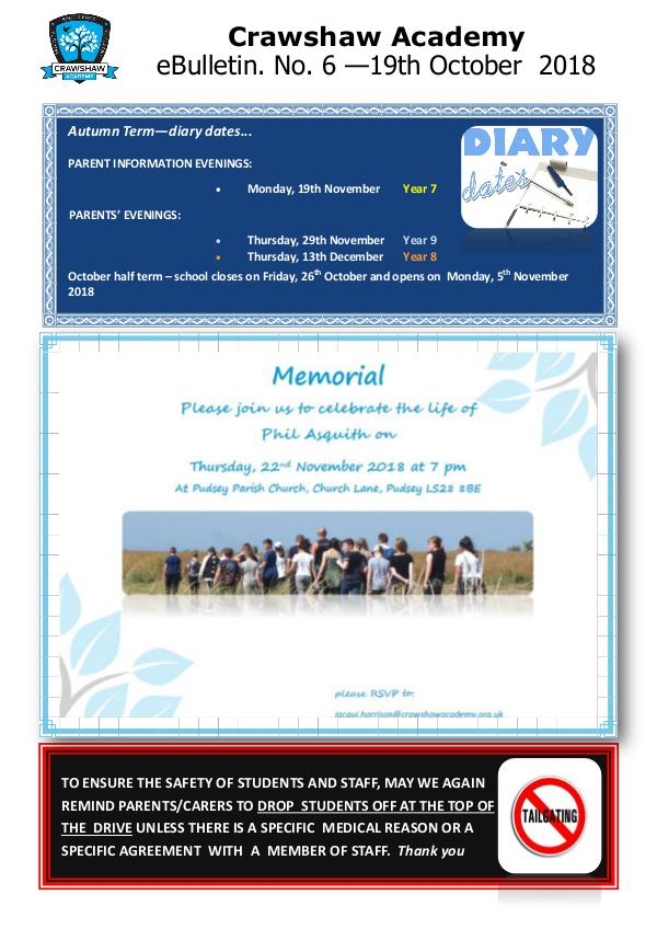 Crawshaw Academy Ebulletins EB6 19 10 18