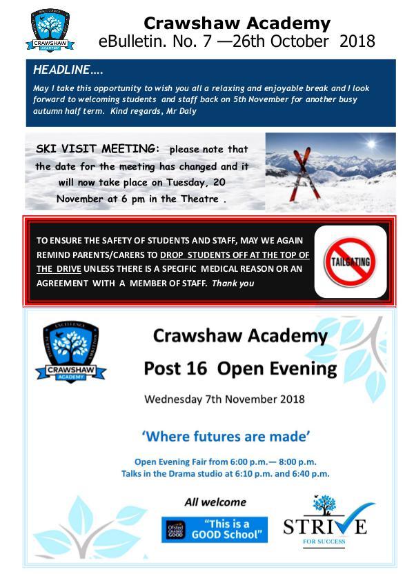 Crawshaw Academy Ebulletins EB 26 10 18