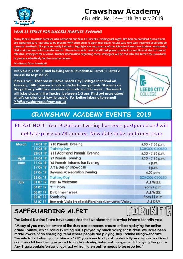 Crawshaw Academy Ebulletins EB14 11 01 19