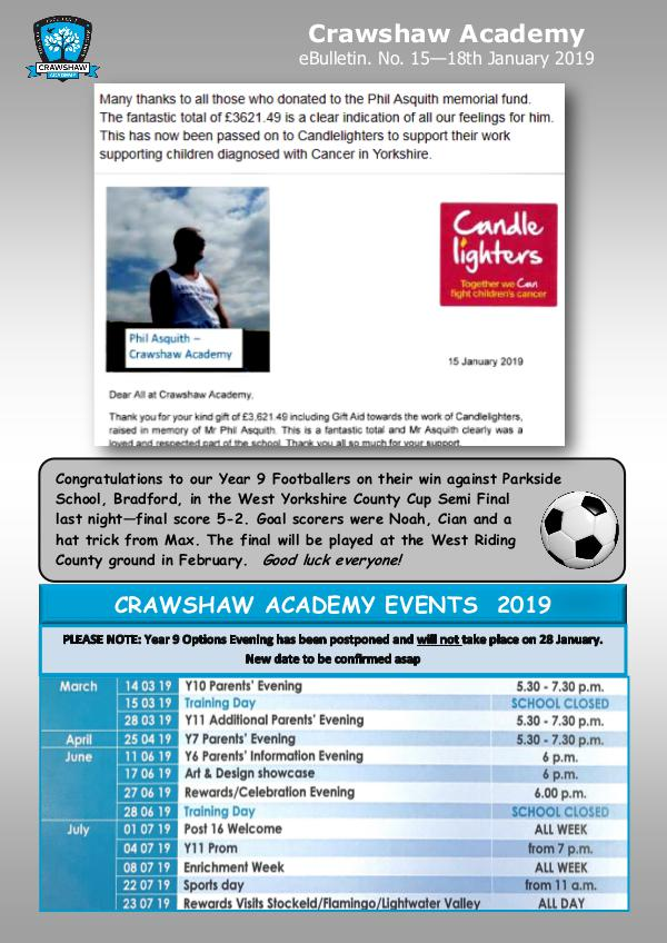 Crawshaw Academy Ebulletins EB15 18 01 19