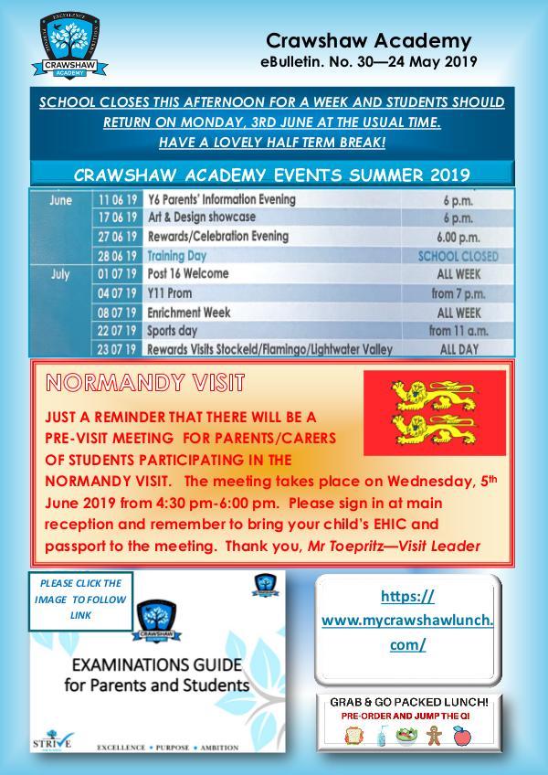 Crawshaw Academy Ebulletins EB30 24 05 19