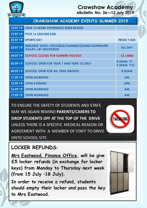 Crawshaw Academy Ebulletins EB36 12 July 19