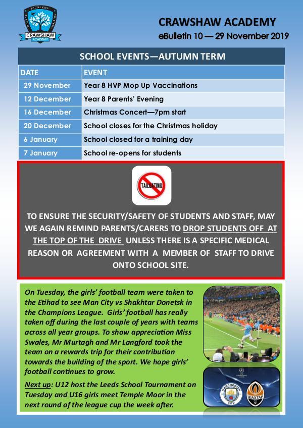 Crawshaw Academy Ebulletins Ebulletin 10 29 11 19