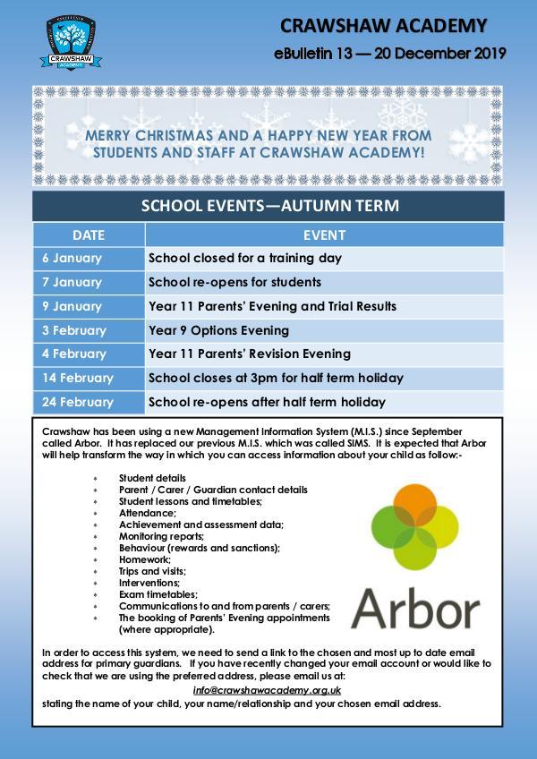 Crawshaw Academy Ebulletins Ebulletin 13 20 12 19