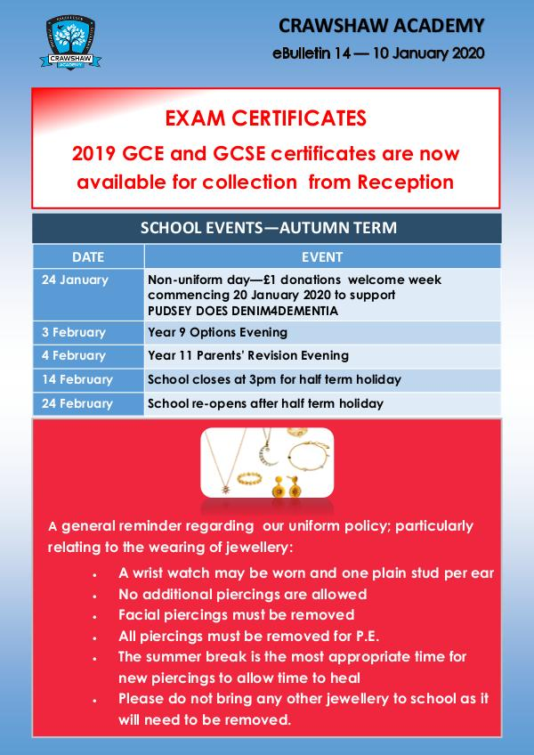 Crawshaw Academy Ebulletins Ebulletin 10 Jan 2020
