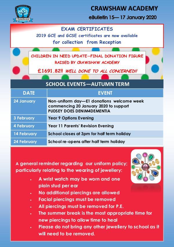 Crawshaw Academy Ebulletins Ebulletin 17 Jan 2020