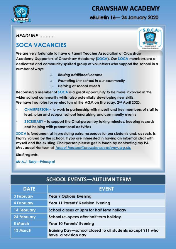 Crawshaw Academy Ebulletins Ebulletin 24 Jan 2020