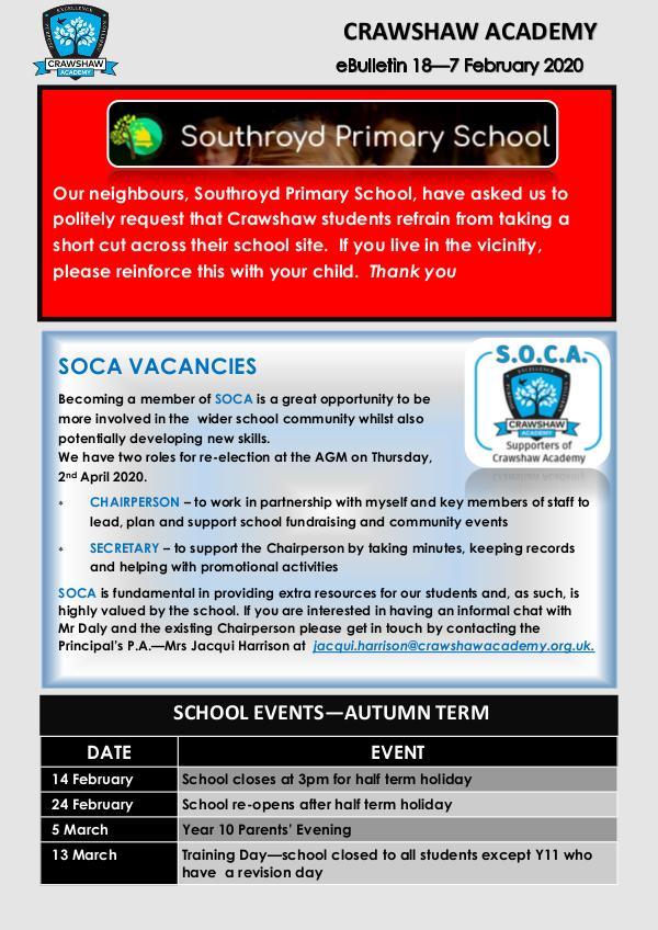 Crawshaw Academy Ebulletins Ebulletin 7 Feb 2020