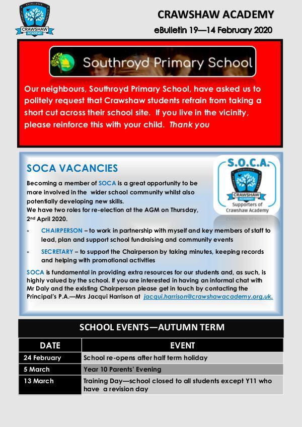 Crawshaw Academy Ebulletins Ebulletin 14 Feb 2020