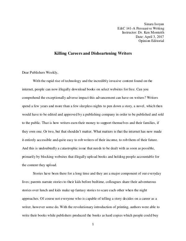 My Writing Portfolio Opinion Editorial