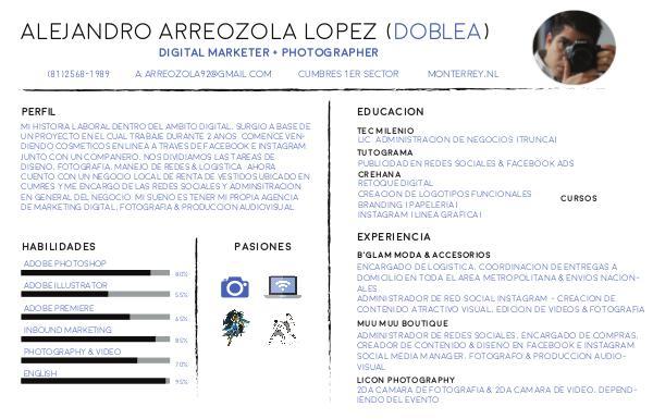 Mi primer Curriculum/Portfolio de Fotografo Curriculum Portfolio - Alejandro