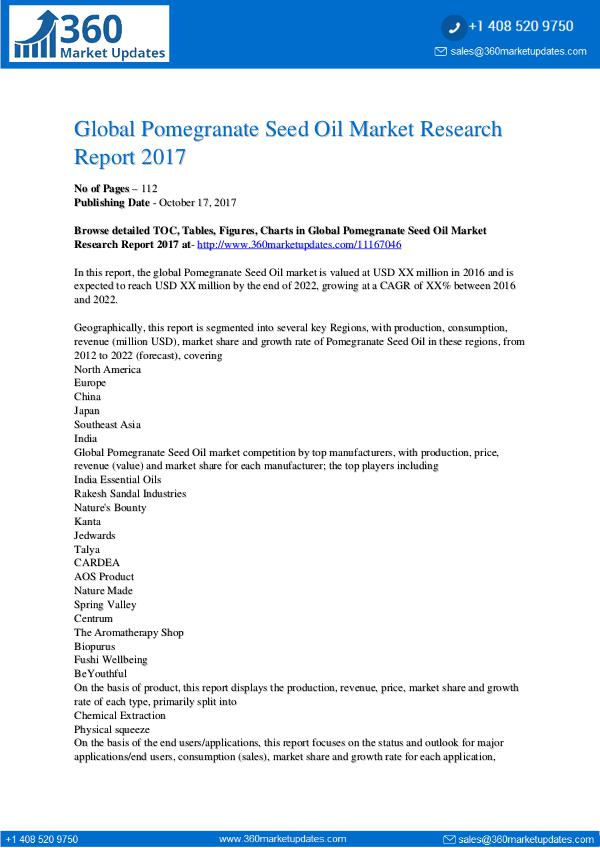 Global Pomegranate Seed Oil Market Research Report
