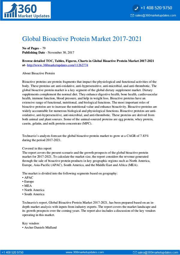 Global Bioactive Protein Market 2017-2021