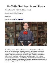 Vedda Blood Sugar Remedy PDF / Book, Ingredients Free Download
