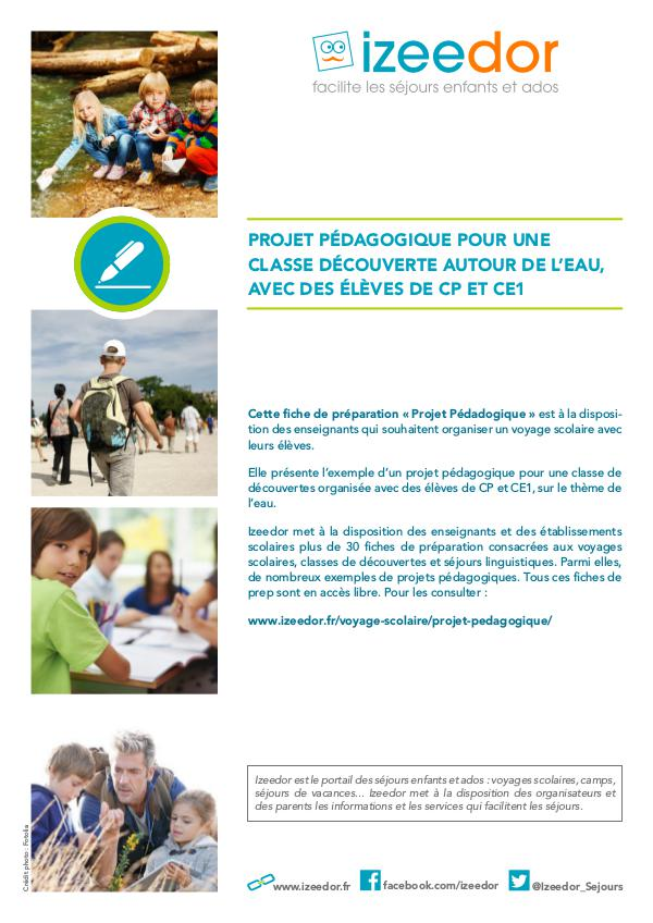 IZEEDOR Projet pédagogique de classe découverte en CP CE1
