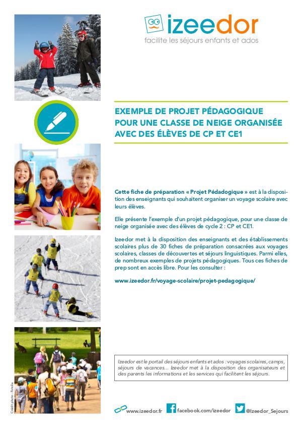 Projet pédagogique d'une classe de neige en CP CE1