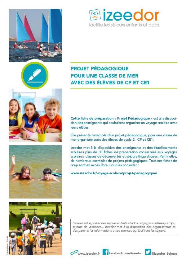IZEEDOR Dossier pédagogique de classe de mer en CP et CE1