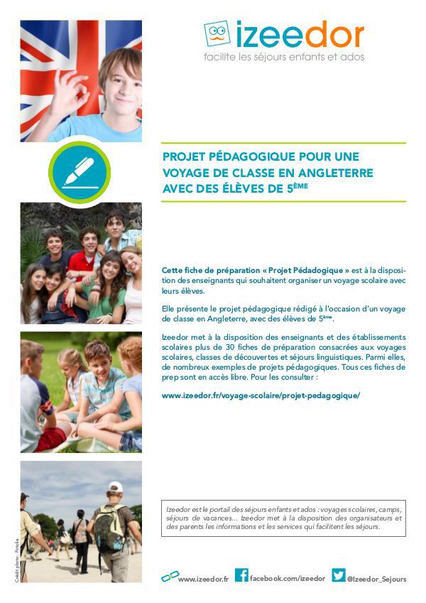 IZEEDOR Projet pédagogique voyage scolaire en Angleterre d