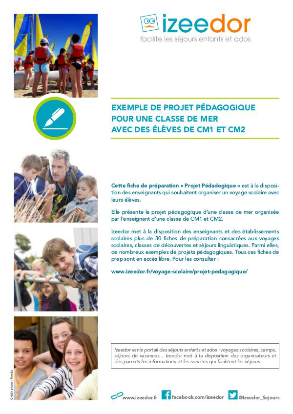 Projet pédagogique classe de mer élèves CM1 CM2