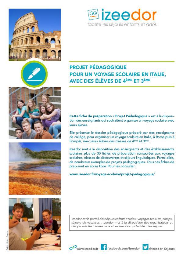 IZEEDOR Projet pédagogique voyage scolaire en Italie