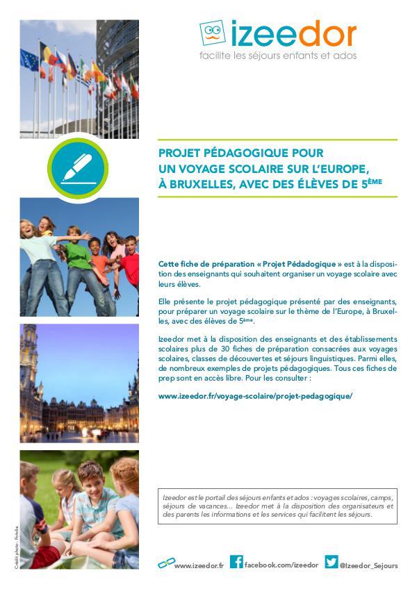 Projet pour voyage scolaire à Bruxelles sur Europe