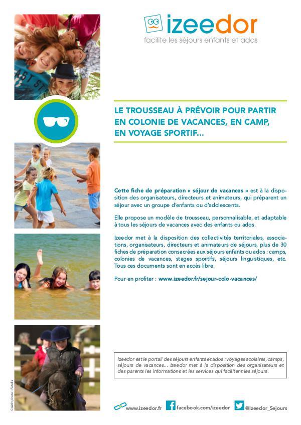 IZEEDOR Trousseau pour partir en colonie de vacances, camp