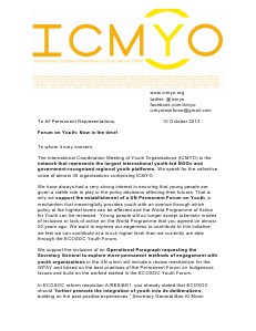 Sopport to Establishment of a UN Permanent Forum on Youth. Letter to share within our movements.