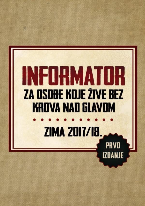 Informator za osobe koje žive bez krova nad glavom Informator za osobe koje žive bez krova nad glavom