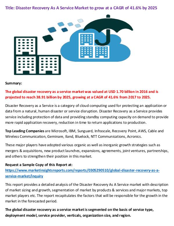 Disaster Recovery As A Service Market to grow at a