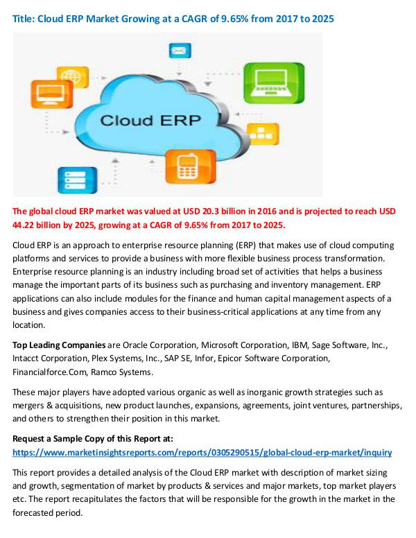 Cloud ERP Market Growing at a CAGR of 9.65% from 2
